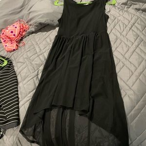 Divided black hi-low dress